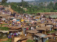 Snapshot of an outdoor Kampala market