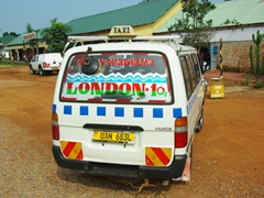 View of a matatu (shared taxi); Ugandan Equator