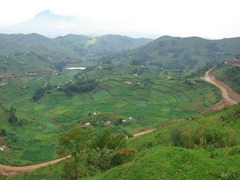 View of the dirt road we navigated to reach Lake Bunyonyi