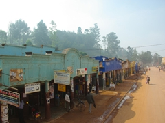 Old colonial style buildings lining the main road in Kabale