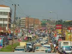 The chaotic traffic of downtown Kampala