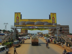 A massive billboard for Bell beer as we drive into Kampala