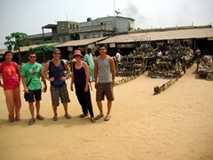 The gang exploring Lomé's Akodessewa Fetish Market