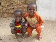 Portrait of two happy Harar boys