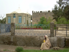 A glimpse of Axum's most holy sight (the ark of the covenant is supposedly housed in the building with the blue windows)