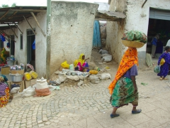 Harar women are often garbed in bright, colorful clothing