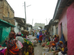 The bustling streets of compact Harar's old city section