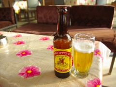 View of St George's Beer, Robby's favorite beverage in all of Ethiopia