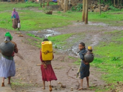 Young girls carrying a precious commodity (water) on their backs