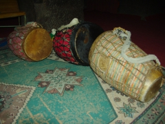 Drums used during Sunday morning mass inside of the House of the Savior of the World; Lalibela