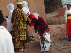 Sunday morning mass outside the House of Mary; Lalibela