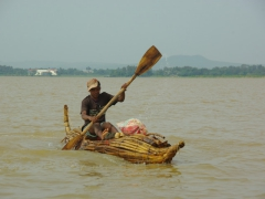 Surprisingly, papyrus boats such as this one are a common means of transportation on Lake Tana