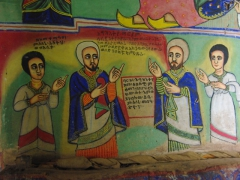 Detail of a wall painting inside Bete Mariam; a 14th Century church on Lake Tana