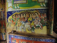 Christians riding off to battle in this colorful wall painting of Azwa Mariam Monastery