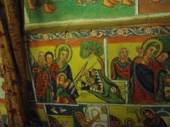A serpent devours non believers; wall mural in Lake Tana's Azwa Mariam Monastery