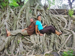 Posing on the roots of trees at Gondar's Fasiledas Bath