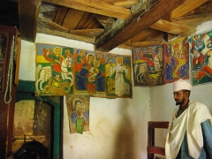Interior of a makeshift museum in the Yeha Temple complex; Axum