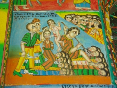We found many of the church murals in Ethiopia to be of a violent nature such as this one on the walls of the Church of Jesus Christ in Axum