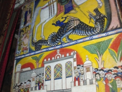 Saint George slaying the Dragon mural inside Saint Mary of Zion Church; Axum