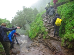 A tricky river crossing; Simien Mountains trek