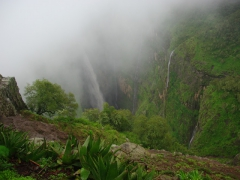 Waterfall view on our hike up the Simien Mountains