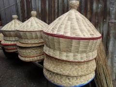 Hand woven, traditional Ethiopian injera baskets; Addis Ababa mercato