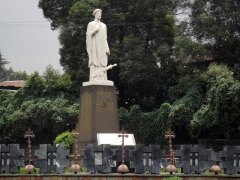 An imposing statue of Abune Petros, an Ethiopian Orthodox archbishop who was executed by invading Italian troops