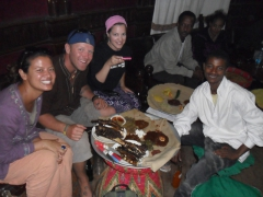 Becky, Lucky, Ally and Daniel prepare to devour lunch at the Addis Ababa Restaurant