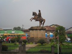 The equestrian statue of Emperor Menelik II dominates Menelik II square in Addis Ababa. All distance markers in Ethiopia are measured from the base of this statue