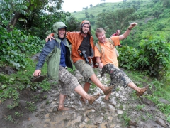 Lucky, Robby and Lars show off their super muddy feet; Blue Nile Falls footpath