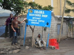 "Ally and Dowelly point out ""Obama's Souvenir Shop"" in Lalibela"