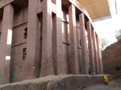 The House of the Savior of the World is Lalibela's largest church. It is the only rock hewn church with external pillars, and measures a massive 11.5 meters tall by 23.7 meters wide and 33.7 meters in length