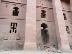 Carved windows and female entrance portal of the House of the Savior of the World (Bete Medhane Alem); Lalibela
