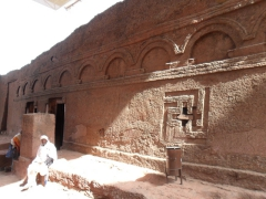 The House of the Cross (Bete Meskal) is a semi monolithic rock hewn church with 10 blind arches on its front facade. The church derives its name from its interior decoration of numerous relief crosses; Lalibela