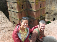 "Posing next to the monolithic ""House of St George"", King Lalibela's finest and most elegant creation"