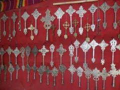 Various types of silver crosses for sale (Aksum, Lalibela or Gondar style); Lalibela souvenir shop