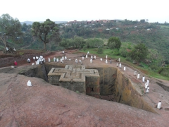 Early morning worshippers at the House of Saint George; Lalibela