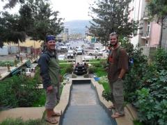Lucky and Robby posing in a tea garden in Gondar
