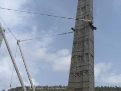 What an eyesore! Temporary suspensions keep Stele 3 upright; Axum