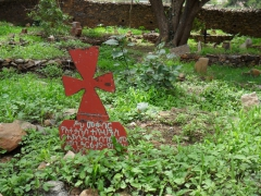 Cross shaped tomb marker in the cemetery of the Church of Jesus Christ; Axum