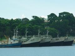 Naval vessels in the Dar Es Salaam harbor