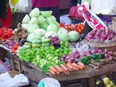 Fresh produce for sale at the Darajani Market; Zanzibar