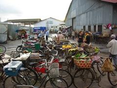 Bicycle parking lot at the fish market; Zanzibar