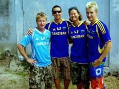 The Zanzibar football team (Lars, Luke, Becky and Scott)
