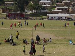 An impromptu soccer game in Mbeya