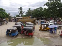 A tuk-tuk parking lot (three wheelers are popular in Tanzania)