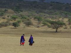 Maasai women walking through the countryside