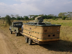 A hot air balloon basket; Serengeti