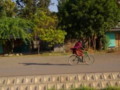 A Maasai man whizzes by on a bicycle; Lake Manyara