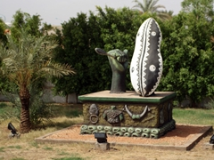 A shield and spear monument near the Khartoum International Airport